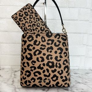 Kate Spade Darcy Graphic Leopard Small Bucket Bag & Large Slim Bifold Wallet